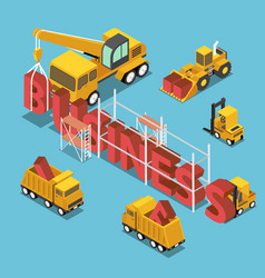 isometric construction site vehicles buildding vector image vector image