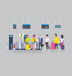 People standing in queue with suitcases for vector