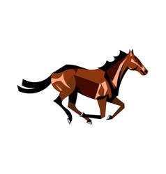 Running brown horse vector