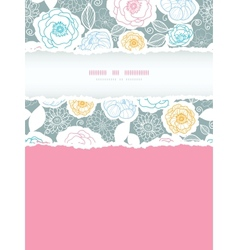 Silver and colors florals vertical torn frame vector image