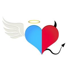 Angel-devil heart vector image vector image