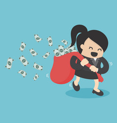 business woman run hold money sack vector image vector image