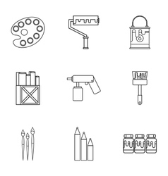 Creativity art icons set outline style vector image