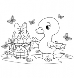 Easter duckling coloring page vector image vector image