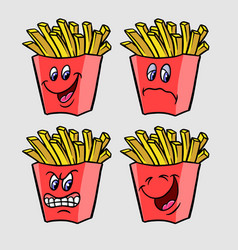 friend fries cartoon character expression vector image