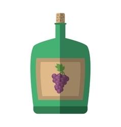 Green big wine bottle liquid drink grape cork vector