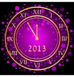 purple New Year clock vector image vector image