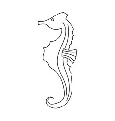 seahorse icon in outline style isolated on white vector image