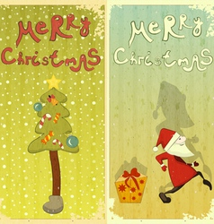 Vintage Set of Christmas card vector image