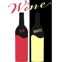 Bottle of wine red and white image Flat vector image