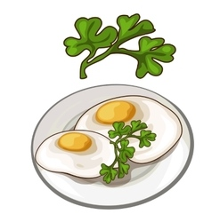 Delicious fried eggs on plate with parsley vector