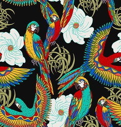 Floral black background with parrots vector image vector image