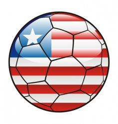 liberia flag on soccer ball vector image vector image