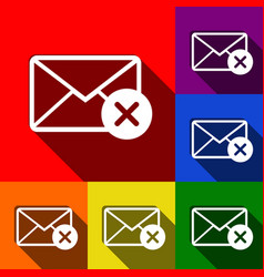 mail sign with cacel mark vector image