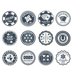 Poker black labels set vector image vector image