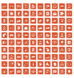 100 contact us icons set grunge orange vector