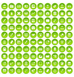 100 finance icons set green vector