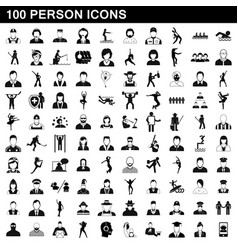 100 person icons set simple style vector image