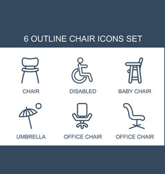 6 chair icons vector