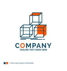 Arrange design stack 3d box logo design blue and vector