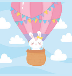 baby shower flying cute rabbit on hot air balloon vector image