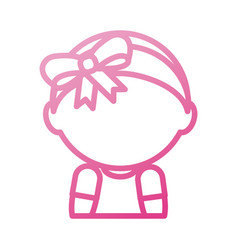 baby shower girl adorable with diadem bow vector image