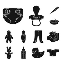 Birth of a baby black icons in set collection for vector