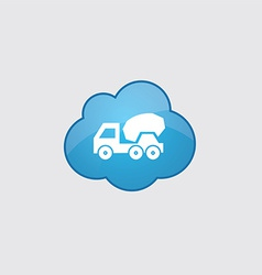 Blue cloud concrete mixer icon vector image