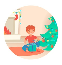 Boy with gift Christmas or New Year Near the vector image