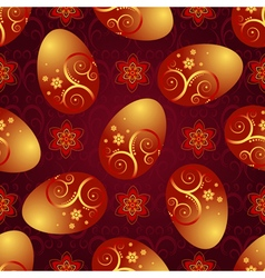Bright red pattern with Easter golden shiny eggs vector