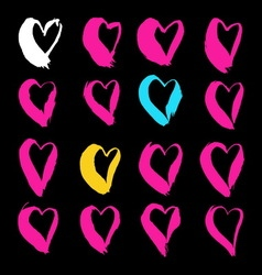 Brush drawn hearts vector