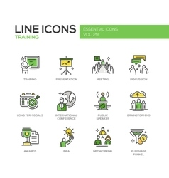Business Training - line design icons set vector image
