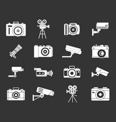 camera icon set grey vector image