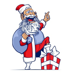 cartoon funny santa vector image