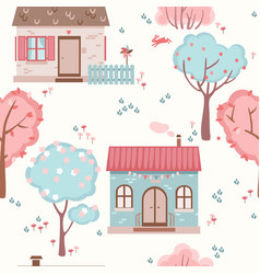 Childrens seamless pattern with cute houses vector