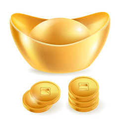 Chinese gold ingot isolated elements vector