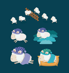 Color background with set sheep sleep time icons vector