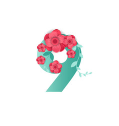 color number 9 with beautiful flowers vector image
