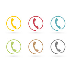 colorful phone icon in circle vector image
