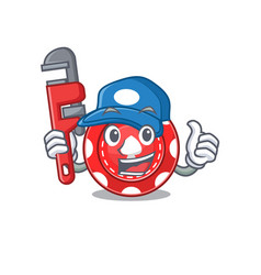 Cool plumber gambling chips on mascot picture vector