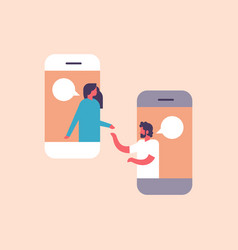 couple chat bubbles mobile application vector image