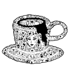 Cup on doodle vector