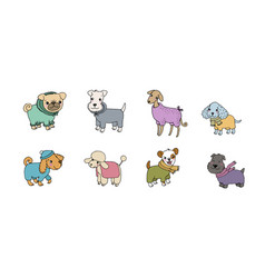 cute cartoon dog breeds happy animals vector image