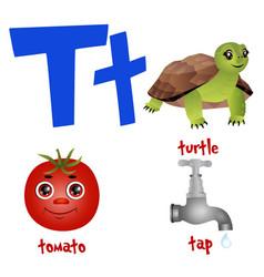 Cute kids cartoon alphabet letter t with vector