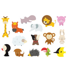 cute wild and domestic animals cartoon stickers vector image
