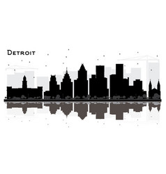 detroit michigan city skyline silhouette with vector image