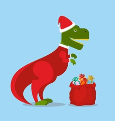 Dinosaur Santa Claus T-Rex in Christmas hat vector image