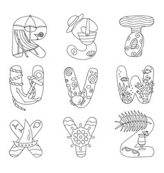 Doodle alphabet with rest on sea from r to z vector