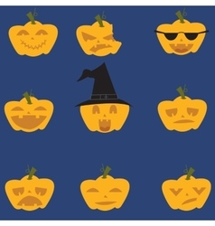 Doodle Halloween expresion pumpkins vector