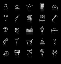 engineering line icons with reflect on black vector image
